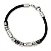 Stainless Steel and Leather with Hematite