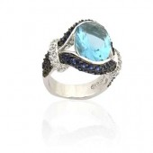 Blue Glass CZ Ring
