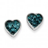 Blue Diamond Heart Earrings