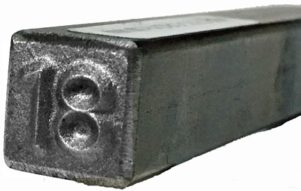 """#230-131-18: DOUBLE DIGIT """"18"""" STAMP, 1/4"""", HEAVY DUTY"""