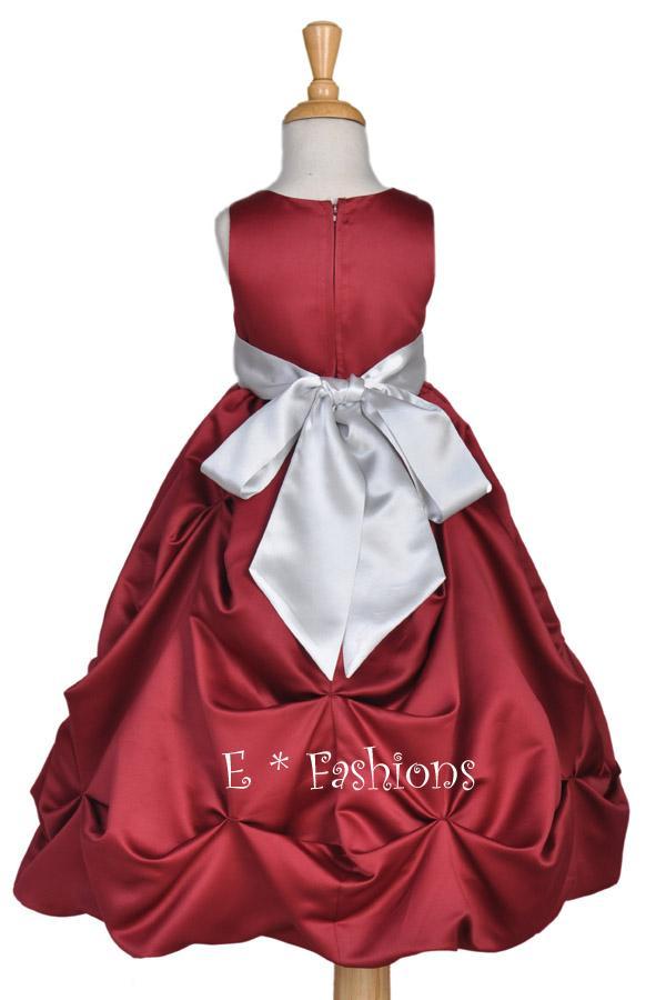 Burgundy/Silver BABY FLOWER GIRL DRESS