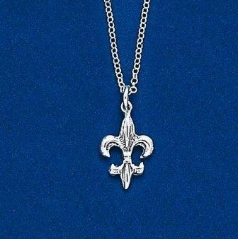 Fleur de lis Double Sided Pendant with Chain