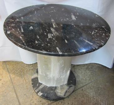 Selenite Lamp with Fossil Table Top and Base