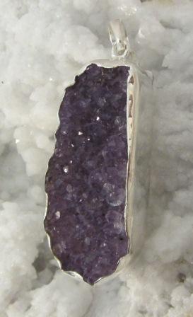 Amethyst Oblong Druzie Cluster Pendant