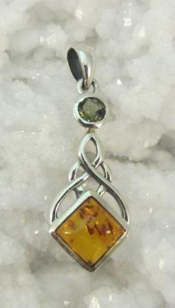 Amber and Moldavite Pendant