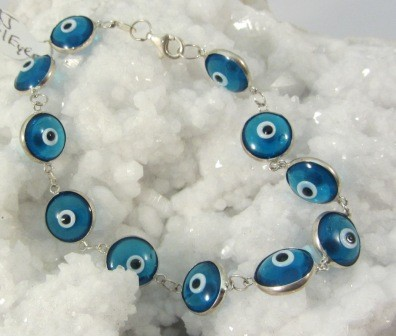 Evil Eye Teal Color  Glass & Sterling Silver Bracelet