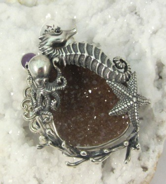 Octopus with Seahorse & Starfish Slide or Brooch