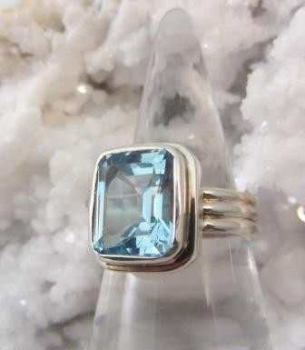 Blue Topaz Grooved Band Ring