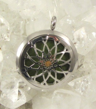 Aromatherapy Stainless Steel Pendant with Green Insert