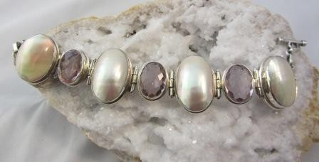Mother of Pearl Shell and Pink Topaz Bracelet
