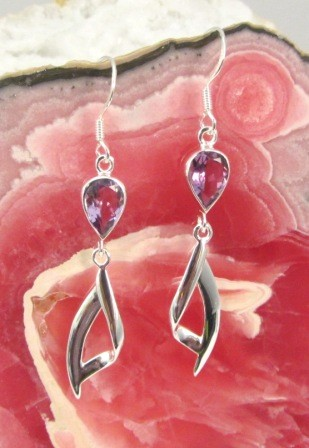 Amethyst Teardrop with Abstract Silver Design Dangle Earring
