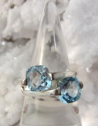 Double Faceted Blue Topaz Ring