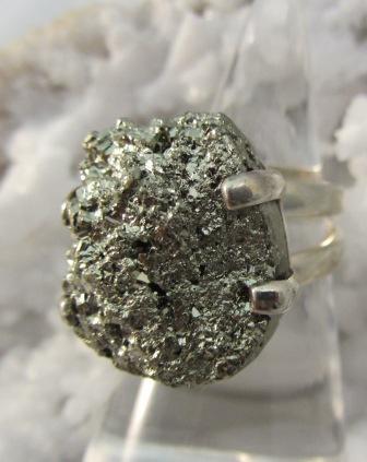 Natural Pyrite Prong Set Ring