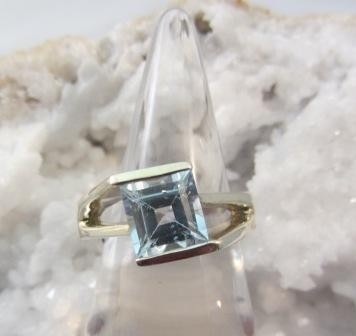 Faceted Blue Topaz Ring