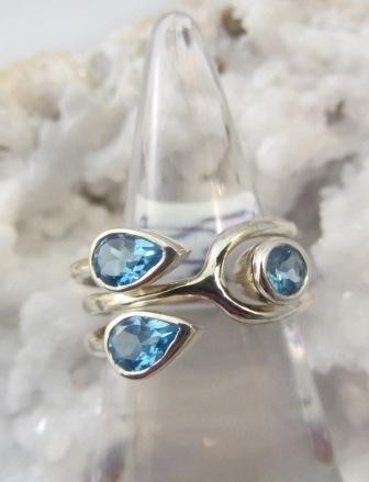 Blue Topaz Triple Teardrop Ring