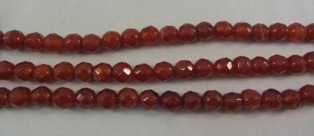 Carnelian Agate Faceted Round Beads