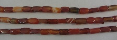 Carnelian Agate Tube Faceted Beads