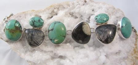Turquoise with Tourmilated Quartz and Fossil Stone Bracelet