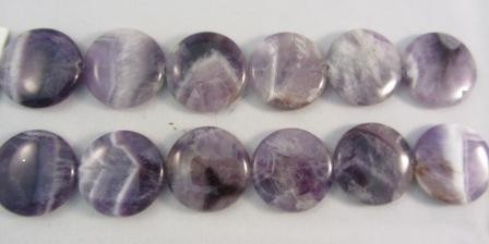 Banded Amethyst Flat Round Beads