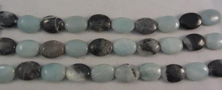 Black Gold Amazonite Flat Oval Medium Beads