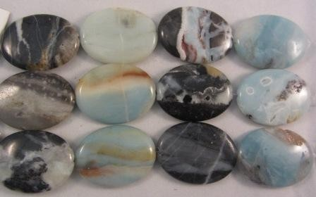 Black Gold Amazonite Large Flat Oval Beads