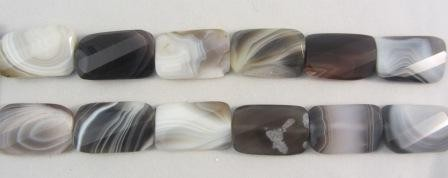 Botswana Agate Wavy Faceted Rectangle Beads