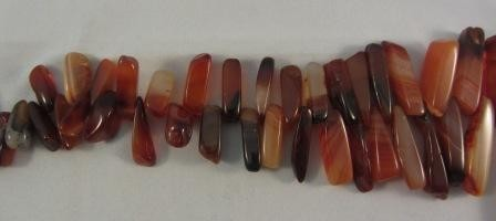 Carnelian Agate Graduated Stick Beads