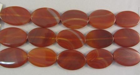 Carnelian Agate Large Flat Oval Beads
