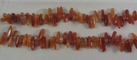Carnelian Agate Long Chip Beads