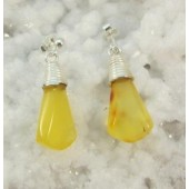 Amber Butterscotch Teardrop Post Dangle Earrings