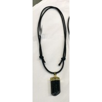 Black Tourmaline Gold Plated Pendent