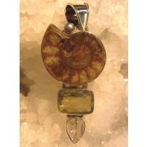 Ammonite and Lemon Quartz Pendant