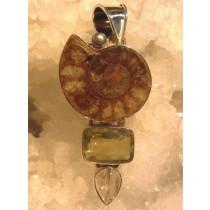 Ammonite and Lemon Quartz Pendant