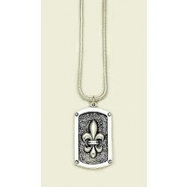 Fleur de lis Large Dog Tag Pendant with Chain