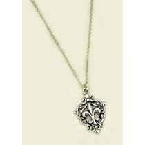 Fleur de lis Teardrop Vine Pendant with Chain