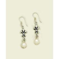 Fleur de lis with Pearl Earring