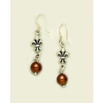 Fleur de lis with Brown Pearl Earring