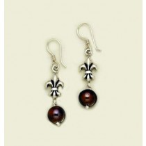 Fleur de lis with Black Pearl Earring
