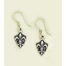 Fleur de lis Crest Dangle Earrings