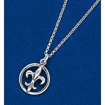 Fleur de lis Medium Circle Pendant with Chain