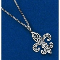 Fleur de lis Large Filagree Pendant with Chain