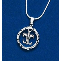 Fleur de lis in Circle Pendant with Chain