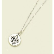 Fleur de lis Embossed Circle Pendant with Chain