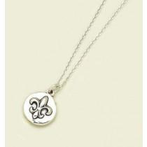 Fleur de lis Embossed Circle Pendant with Chain