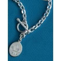 Fleur de lis Engraved Oval Bracelet