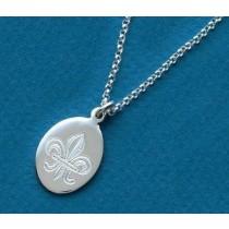 Fleur de lis Engraved Medium Oval Pendant with Chain