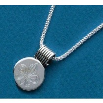 Fleur de lis Engraved Small Circle Slide with Chain