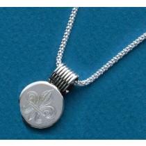 Fleur de lis Engraved Small Circle Slide with Chain