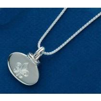 Fleur de lis Engraved Oval Slide with Chain