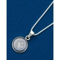 Fleur de lis Engraved Braided Circle Pendant with Chain